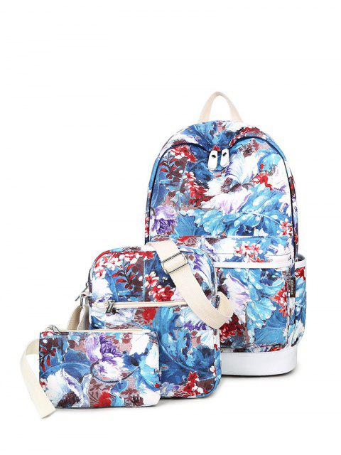 ladies Flower Painted Backpack Set - BLUE  Mobile