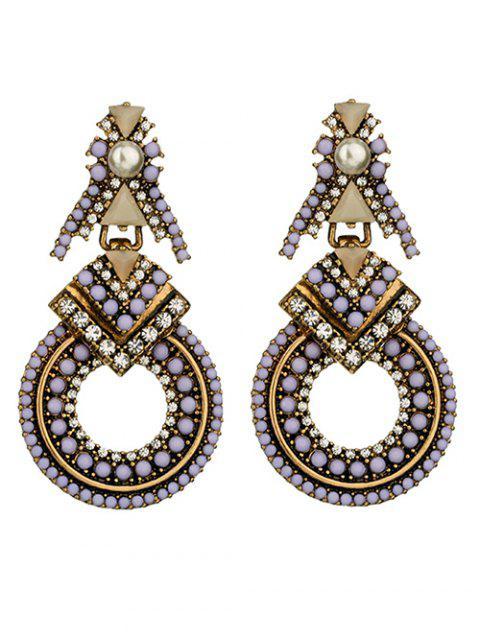 sale Faux Pearl Rhinestone Beaded Geometric Earrings - PURPLE  Mobile
