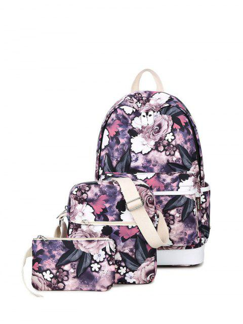 lady Floral Painted Backpack Set - PURPLE  Mobile