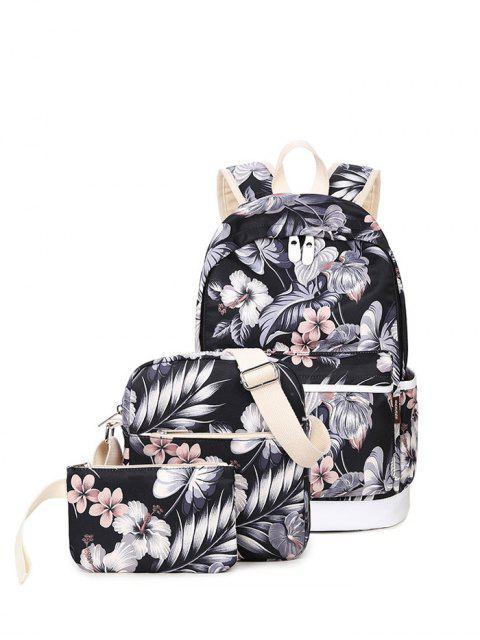 best 3 Pcs Flower Printed Backpack Set - BLACK  Mobile