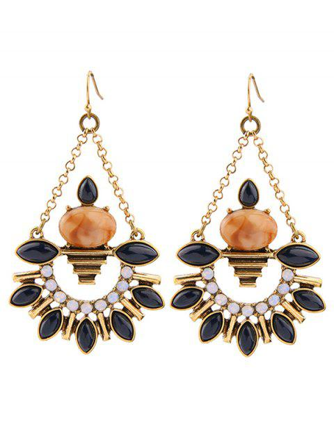 fashion Artificial Gemstone Fan Shaped Drop Earrings -   Mobile