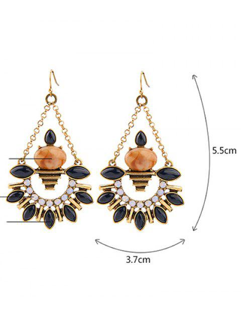 fashion Artificial Gemstone Fan Shaped Drop Earrings -   Mobile