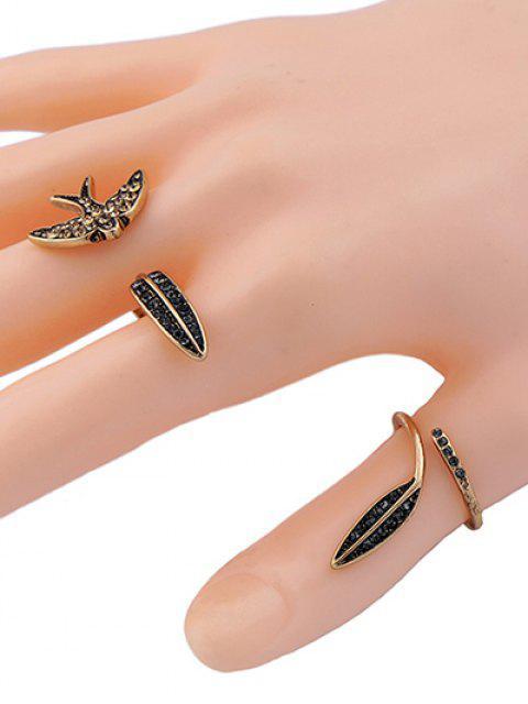 unique Rhinestone Leaf Bird Cuff Ring Set -   Mobile