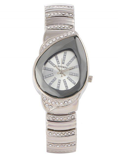 women's Rhinestone Water Drop Quartz Watch - SILVER  Mobile