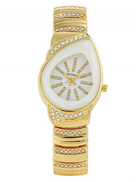 ladies Rhinestone Water Drop Quartz Watch - WHITE  Mobile