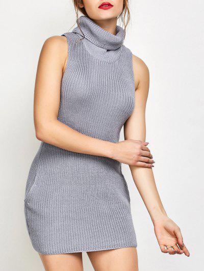 Turtle Neck Sleeveless Sweater Dress
