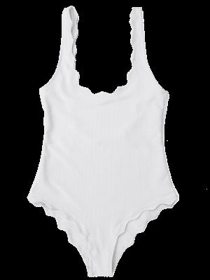 Low Back Scalloped One Piece Swimwear - White M