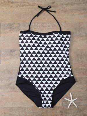 Plus Size Diamond Print One-Piece Swimwear - White And Black 2xl