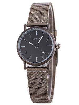 Malla metálica banda reloj de pulsera analógico