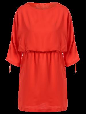 Drawstring Sleeve Waist Slimming Dress - Orange Red S
