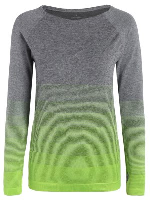 Camiseta De Manga Larga De Ombre Sports - Verde De Neón L
