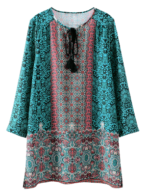 Printed Vintage Long Sleeve A-Line Dress - Green S