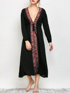 Low Cut Belted Printed Vintage Dress - Black - Black 2xl