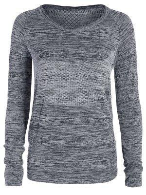 T-shirt gris de sport en crochet aux manches longues pour les femmes