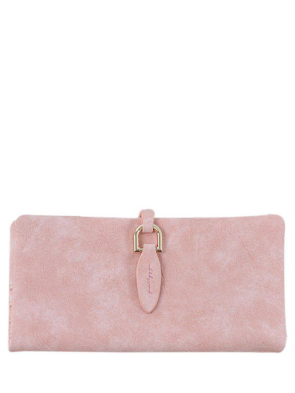 Metal Embellished Bi Fold Clutch Wallet - Pink