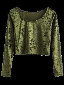 Vintage Scoop Neck Velvet Crop Top - Army Green S