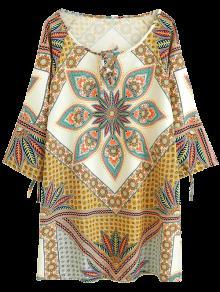 Printed Ralgan Sleeve Mini Tunic Dress - Brown S