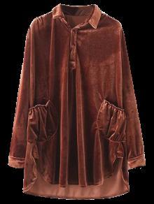Robe-chemisier En Velours Avec Poches - Brun-rouge L