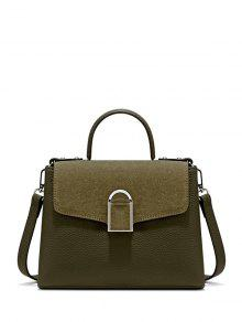 Suede Panel Flapped Handbag - Green