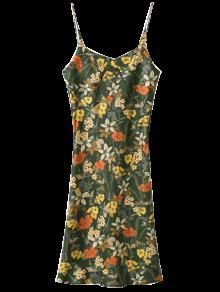 Buy Cut Tiny Floral Slip Dress - ARMY GREEN S