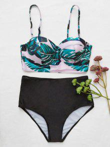 Push Tropical Print Underwire Bikini - BLACK L