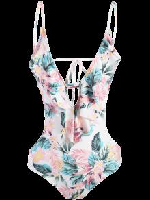 String High Cut Tropical Print One-Piece Swimwear - M