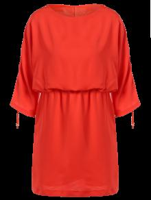 Drawstring Sleeve Waist Slimming Dress - Orange Red S