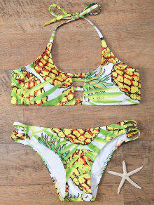 Buy Pineapple Pattern Halter Padded Bikini - COLORMIX S