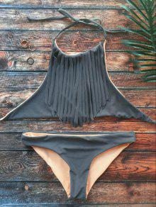 High Neck Double Side Fringed Bikini - Gray L