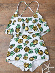 Pineapple Print Frilly Cute One Piece Bathing Suit - White Xl