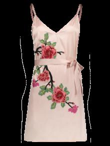 Buy Mini Floral Embroidered Slip Dress - SHALLOW PINK S