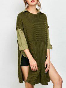 Side Slit Oversized Sweater With Pockets - Army Green M