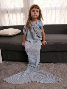 الدفء الكروشيه الحياكة حورية البحر الذيل نمط بطانية للأطفال - رمادي
