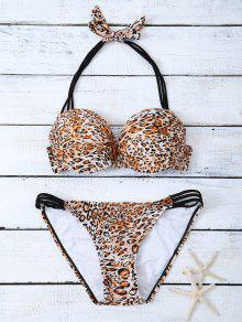 Bowknot Strappy  Halter Leopard Bikini Set - Leopard M