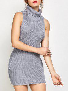 Vestido De Tejido Del Cuello De La Capucha Sin Mangas - Gris M