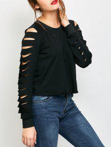Fitting Ripped Sleeve T-Shirt - Black Xl