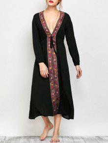 Low Cut Belted Printed Vintage Dress - Black 2xl