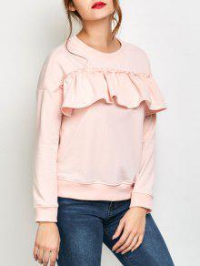 Ruffles Jewel Neck Sweatshirt - Pink S