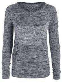 Long Sleeved Space Dye Sports Tee - Gray M