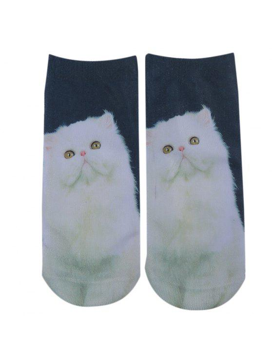 shops 3D Persian Cat Printed Crazy Ankle Socks - CYAN