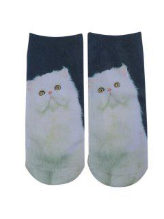 3D Persian Cat Printed Crazy Ankle Socks - Cyan