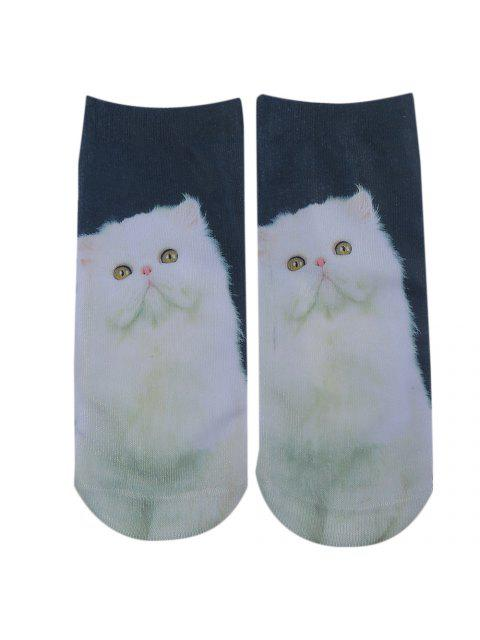 shops 3D Cat Printed Crazy Ankle Socks - CYAN  Mobile