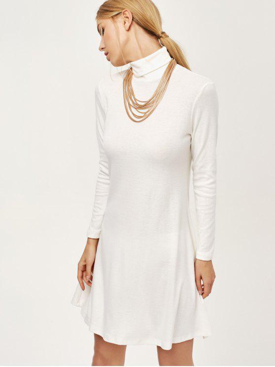 سلحفاة الرقبة البسيطة اللباس سوينغ - أبيض M