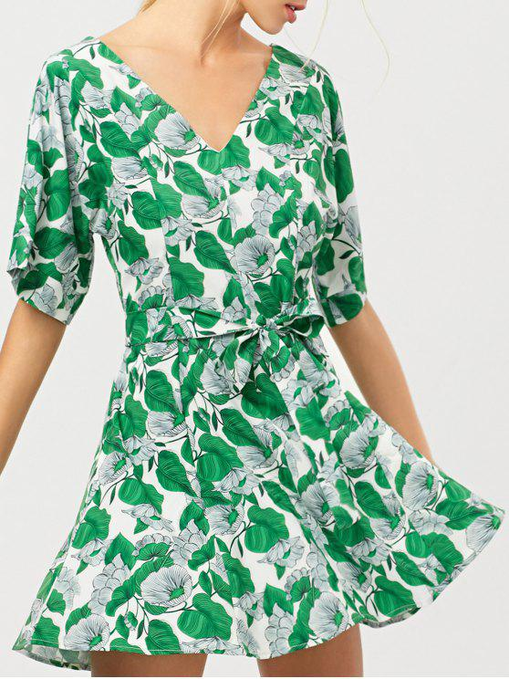 online Leaves Print Belted A-Line Dress - GREEN XL