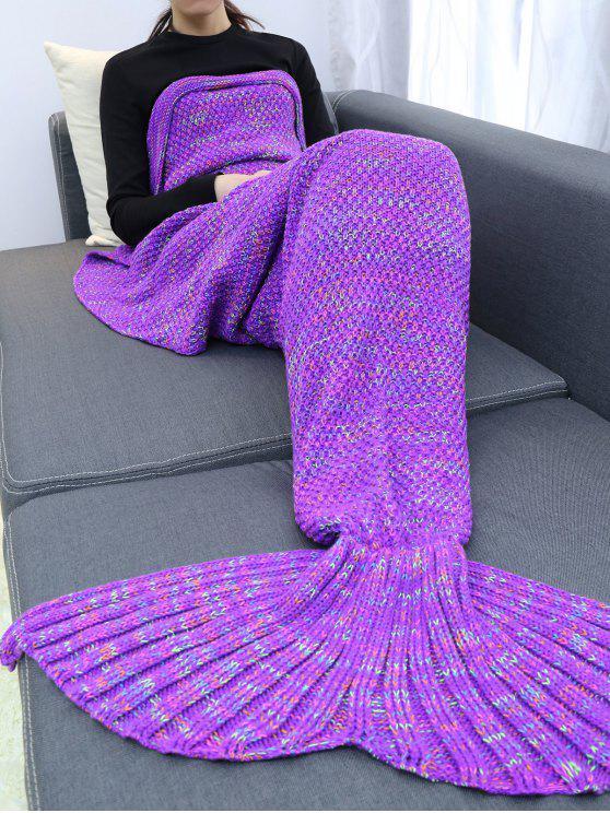 الدفء الكروشيه غزل حورية البحر بطانية رمي - أرجواني