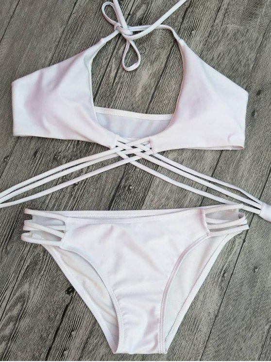 Recorte de tiras con cordones de Set Bikini - Blanco S