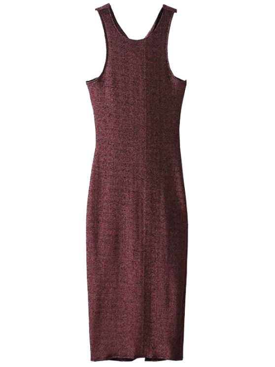 ladies Twist Low Back Pencil Tank Dress - WINE RED M