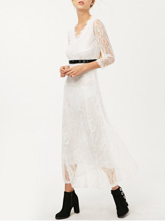 V Neck Lace Prom Maxi Dress WHITE: Maxi Dresses XL   ZAFUL