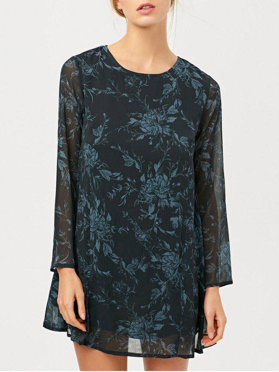 online Long Sleeve Floral Jacquard Dress - BLACK L