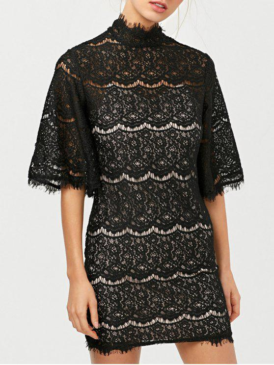 ladies Flare Sleeve Hollow Out Lace Mini Dress - BLACK M